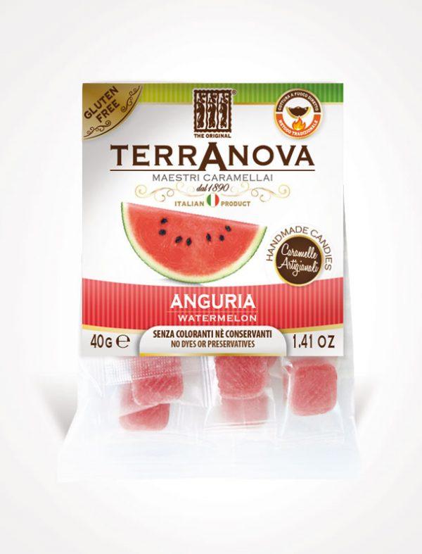Acquista subito le caramelle artigianali all'anguria. Dissetanti, fresche, un quadratino d'estate sempre con te, senza coloranti conservanti, gluten free