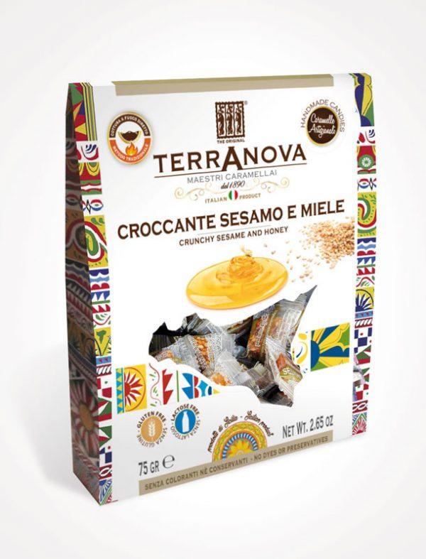 caramelle artigianali siciliane al croccante sesamo e miele terranova sicilian soul confezione 75g